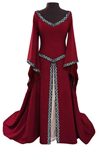 Ditshore Damen Langarm Mittelalter Kleid-Gothic Viktorianischen Königin Kostüm mit...