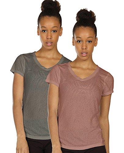 icyzone Fitness Yoga T-Shirt Damen Rückenfrei - Casual Bluse Kurzarm Top Oberteile V-Ausschnitt Shirt (L, Grey/Mocha)