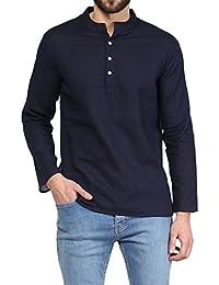 VIVIDS INDIA MEN'S Cotton Short Kurta (Navy Blue , G-127 - $P)