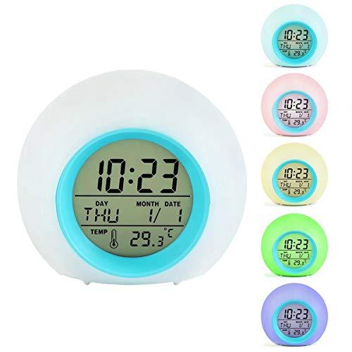 Kinderwecker Digitaler Wecker LED Wecker - 7 Farben zum Ändern der Naturgeräusche,Control Schlaf-Friendly mit Innentemperaturanzeige für Arbeit Eltern, Studenten etc