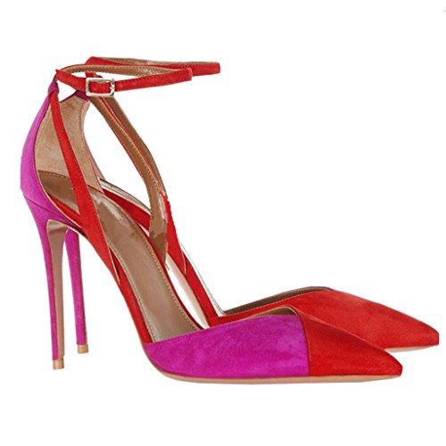 Camoscio Caviglia Stiletto Con Partito Rosso Sandali Womens Enmayer Punta A Punta Vestito Tacco Da a5xwq