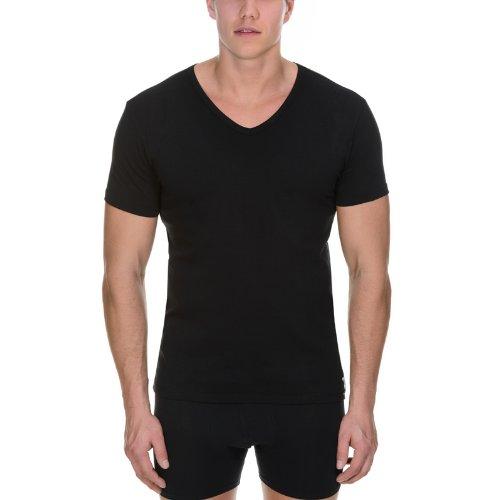 bruno banani Herren T-Shirt 2 Pack Cotton Simply V-Shirt Schwarz (schwarz 7)