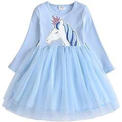 VIKITA Mädchen Sommer Blume Kurze Ärmel Baumwolle Freizeit Kleid LH4577 6T