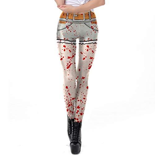 Halloween Fashion Kostüm Wild - WHFDDDK Halloween-Kostüm Horror Blood Splash Pattern Print Legging Wild Fashion atmungsaktiv & schnell trocknend Yogahosen einfach und bequem