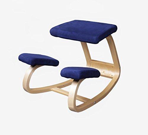 Stuhl, Massivholz Nordic Ergonomie Computer-Stuhl Lernen zu sitzen Positive Stuhl Schützen Sie die Taille Bürostuhl Mechanische Gaming-Stuhl Navy blau Breite 800 mm × Tiefe 900 mm × hoch 670 - Stuhl Navy Computer
