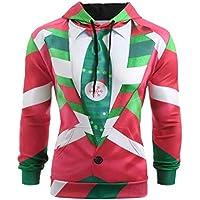 TAOtTAO Langärmeliger 3D-Pullover mit Kapuze Männer Weihnachten Anzug Muster 3D Print Langarm Hoodie Caps Sweatshirt Pullover