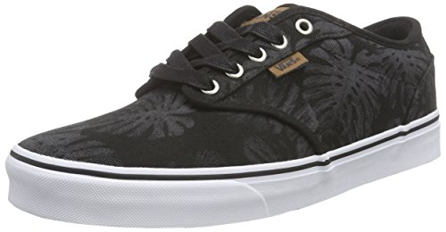 Vans Herren Atwood Deluxe Low-top, Schwarz (Palm Leaf/Black/White), 42.5 EU