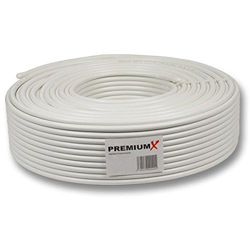PremiumX Basic 20m Koaxialkabel 135 dB 4-Fach geschirmt 20 m Kupfer-Stahl Satelliten Koaxkabel Antennenkabel Digital Sat TV Kabel (Stahl 4 Fach)
