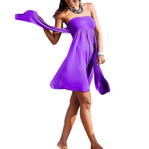 jiajia Frauen 'S MAGIC Stretch Neckholder Bandeau Bikini Cover Up Beach Kleid Violett