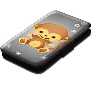 Animaux Mignons 108, Singe, Noir Coque Housse Pochette Cover Coquille en Cuir avec Dessin Coloré et Fermeture Noir Magnetique pour Samsung Galaxy S3 Mini i8190