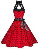Zarlena Damen 50er Retro Rockabilly Pola Dots Petticoat Neckholder Kleid Rot mit schwarzen Dots X-Small 4250647201476k