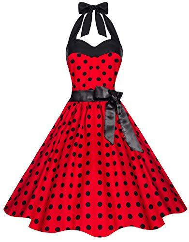 Zarlena Damen 50er Retro Rockabilly Pola Dots Petticoat Neckholder Kleid Rot mit schwarzen Dots Large 4250647215107