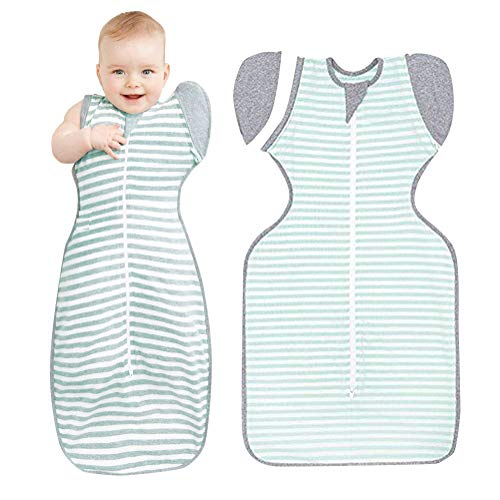 Minetom baby sacco a pelo bambino striscia cotone coperta neonati baby swaddle passeggino sacco a pelo con maniche verdi 75cm (6-9mesi)