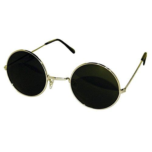 Occhiali da sole Hippie - stile TEASHADES John Lennon - rotondi VINTAGE uomo donna UNISEX - GOLD / Nero