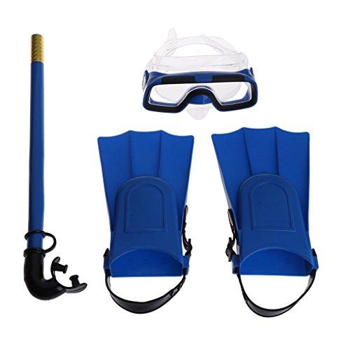 Yunso Schnorchel Set Full Face Schnorchel Maske mit verstellbaren Tauchflossen Anti-Fog-Objektiv (Tauchmaske, Schnorchel & Flossen) (Blau)