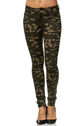 Elara Damen Stretch Hose Skinny Fit Jegging Chunkyrayan A92 Army 42 (XL)