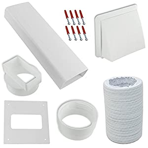 """SPARES2GO Exterior Wall Venting Kit & Extension Hose for Bush Tumble Dryers (White, 4"""" / 102mm) from SPARES2GO"""
