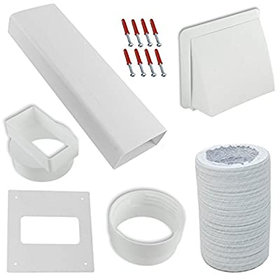 "SPARES2GO Exterior Wall Venting Kit & Extension Hose for Bush Tumble Dryers (White, 4"" / 102mm) from SPARES2GO"