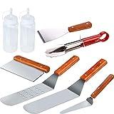 Jycra-Set di utensili di qualità professionale per barbecue, 8 pezzi, include spatola, raschietto, bottiglie e pinze per picnic, campeggio, barbecue, festa