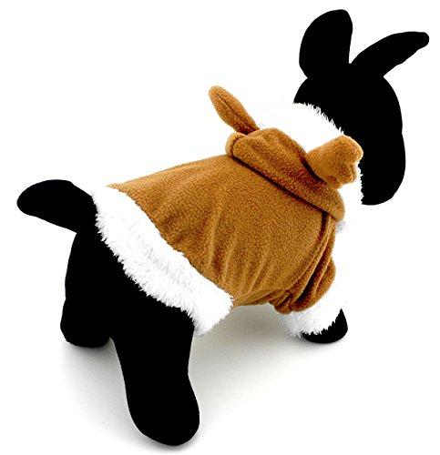 selmai Pet Puppy Katze klein Hund Kleidung Warm Fleece Rentier Kostüm Halloween Kleid bis Khaki