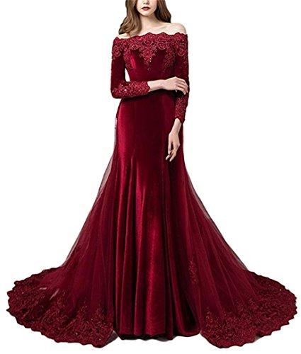 Cloverbridal Damen Vintage Langarm Samt Abendkleider Ballkleider von der Schulter Hochzeitskleider...