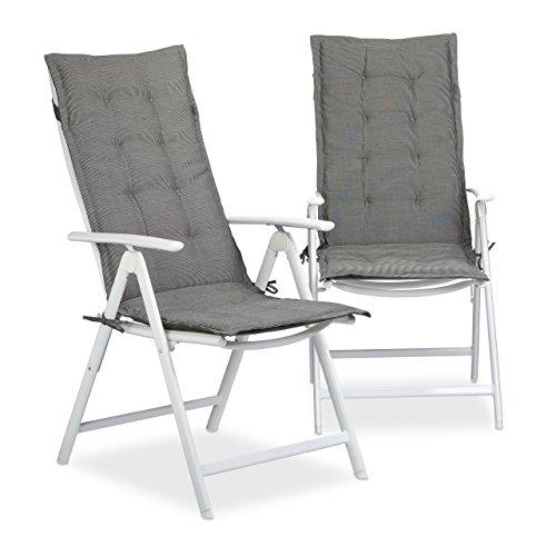 Relaxdays Stuhlauflage Set, 2 Polsterauflagen für Hochlehner, Gartenauflagen aus Polyester, HBT: 120 x 48 x 3 cm, grau