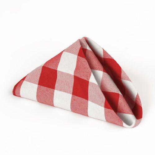 LeinenTablecloth 15-Zoll-Polyester-Servietten (1-Dutzend) Red & White Checker (Tischdecke Schwarz Checker)