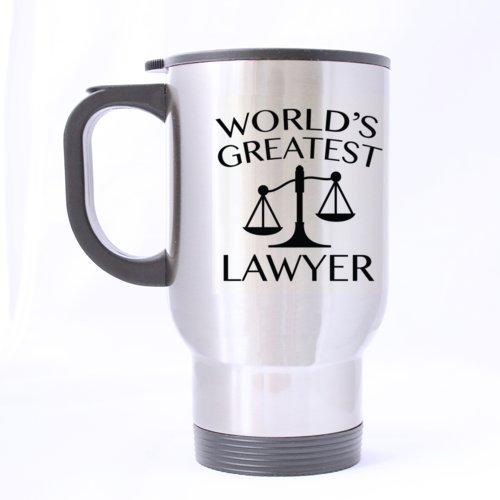 Nice-Mug WORLD S Best avocat Mug de voyage en inox Argenté 14 cl-Tasse à Café/Thé cadeau idéal pour un avocat, un anniversaire, Noël ou Nouvel An