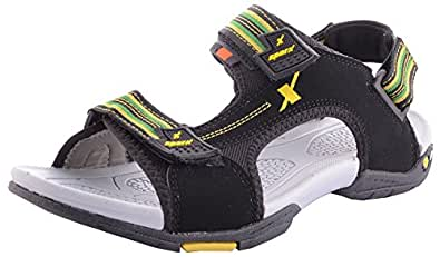 Sparx Men's Black-Yellow Floaters Size- 10 (SS-441)