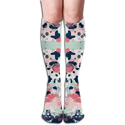 Ellie Abstract Coral Navy Mint Pink Mädchen Abstract Compression Socks Adult Kniestrümpfe Gym Outdoor Socken 50cm 19.7inch