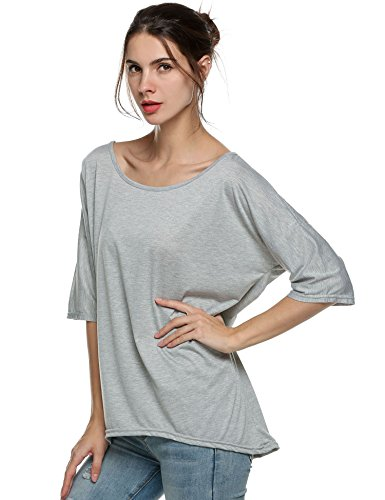 cooshional Damen Lose Fit Bluse Sommer Oversize T-Shirt Kurzarm Shirt Fledermaus Schulterfrei Oberteile Grau