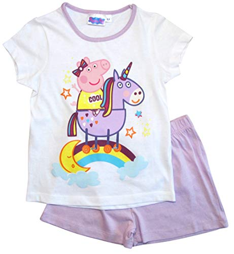 Peppa Wutz Schlafanzug Shorty Mädchen Kurz Peppa Pig Einhorn (Flieder-Weiß, 128)