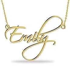 e5af6f055e03 Collar con nombre Personalizados Plata de ley chapada en oro 18k Joya para.