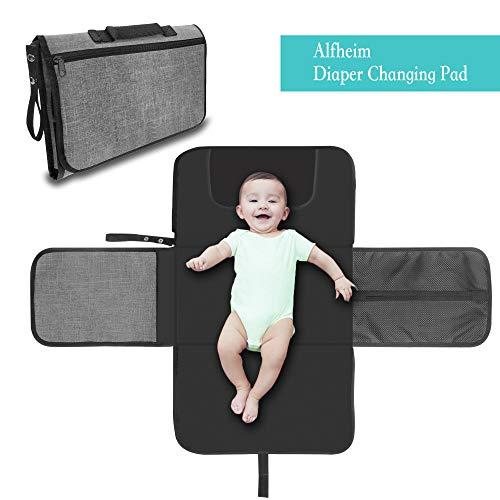 Alfheim Tragbare Wickelunterlage,Wasserdichte faltbare Baby-Wickelausrüstung,Weiche Kissenwindelauflage Halten Sie Ihr Baby sauber für unterwegs (Grau)