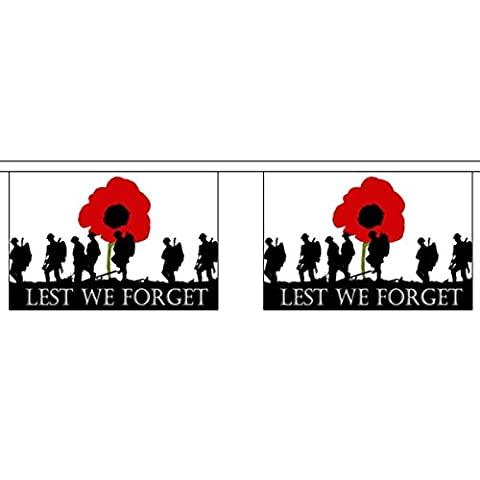 GIZZY® Lest We Forget (Remembrance Day, Horizontal) 3m bunting 10 flags