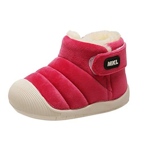 SSUPLYMY Kinder Baby Kleinkind Stiefel Winter Plus Fluff Warm Schneestiefel Mode Einfarbig Freizeitstiefel Leichtgewicht Weicher Boden Wanderschuhe