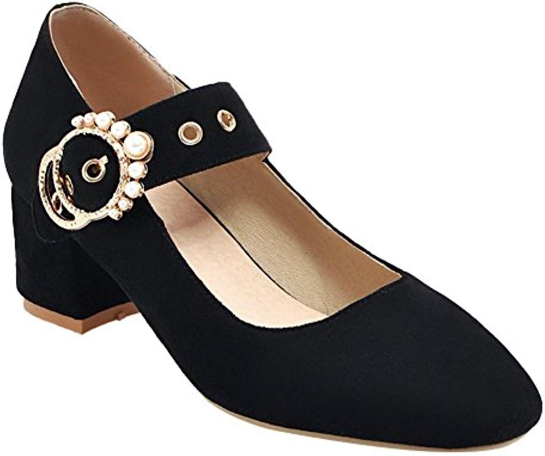 Mee Shoes Damen Blockabsatz Geschlossen Nubukleder Pumps
