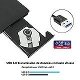 Lector Externo de CD de USB 3.0 Súper-Silm, Sonoka Grabador Portátil Óptica de CD con Capacidad de Corrección de Errores, Diseño Antichoque Compatible con XP/ Win7/8/10/Mac OS Sistema para PC, Laptop