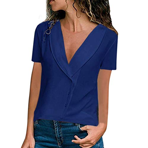 iHENGH Damen Top Bluse Lässig Mode T-Shirt Frühling Sommer Bequem Blusen Frauen Sommer V Ausschnitt Volltonfarbe Kurzarm Freizeithemd ()