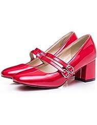 LDMB Toe cuadrado puro color áspero tacón cómodo trabajo mujeres embarazadas zapatos de boda Primavera , red , 36