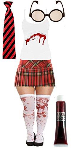 Halloween Bloody Damen Schule Mädchen Rot Tartan Fancy -