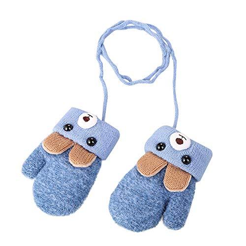 Kinder Handschuhe Winter Fäustlinge Niedliche Cartoon Fausthandschuhe Outdoor Warm Strickhandschuh für 1-5 Jahre alt Baby, Blau, Einheitsgröße