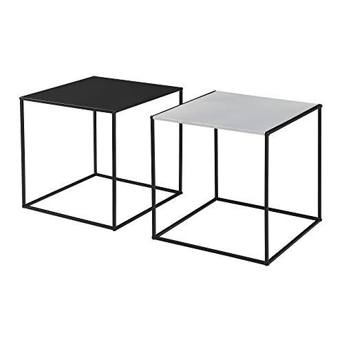 [en.casa] 2X Couchtisch Beistelltisch Wohnzimmertisch Tisch Kaffeetisch Set Schwarz/Grau