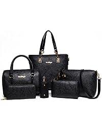 Tisdaini Sac à main en main à la main pour femme Sac à main 6 pièces + sac à bandoulière + sac messager + portefeuille