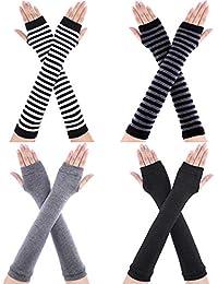 SATINIOR 4 Paar Lange Fingerlose Handschuhe Wärmer Daumenloch Ellenbogen Länge Handschuhe für Frauen