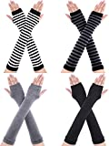4 Pairs Long Fingerless Gloves Warmer Thumbhole Elbow Length Gloves for Women