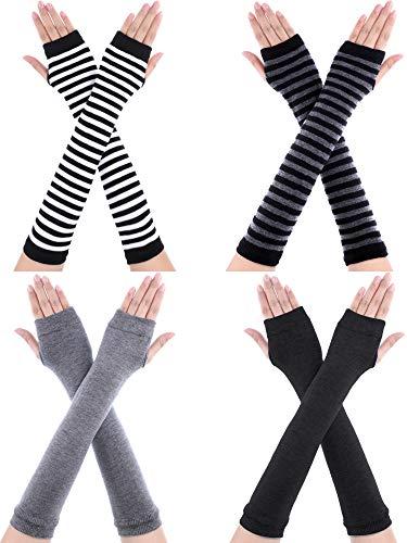Bememo 4 Paar Winter Lange Fingerlose Handschuhe Gestrickte Armwärmer Ellenbogen Länge Handschuhe Daumen Loch Handschuhe für Damen Mädchen (Farbe A)