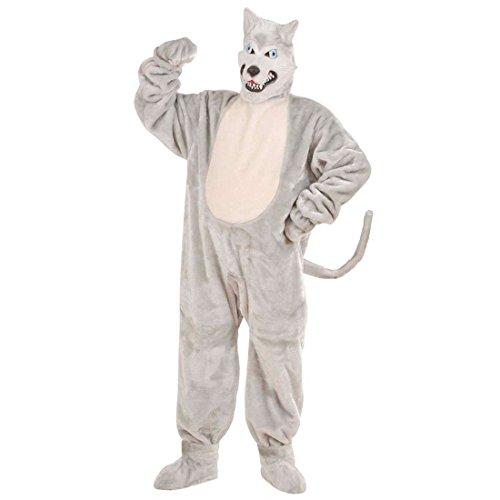 NET TOYS Wolf Kostüm aus Plüsch Raubtier Ganzkörperkostüm Hund Plüschkostüm Husky Strampler Winter Tier Jumpsuit Maskottchen Tierkostüm Outfit Verkleidung ()