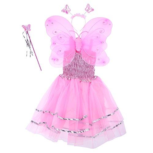 Fenical Mädchen Engel Fee Kostüme Dual-Layer Stirnband Zauberstab Kleid Set für Kinder Weihnachten Halloween Party Geschenk Set 4pcs (Pink) (Kreative Mädchen Kostüme Für Halloween)