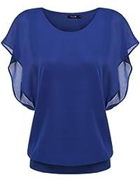 5cf68fa048cd3c Zeagoo Damen Sommer Casual Loose Fit Kurzarm Fledermaus Batwing T-Shirt  Shirt Chiffon Top Bluse